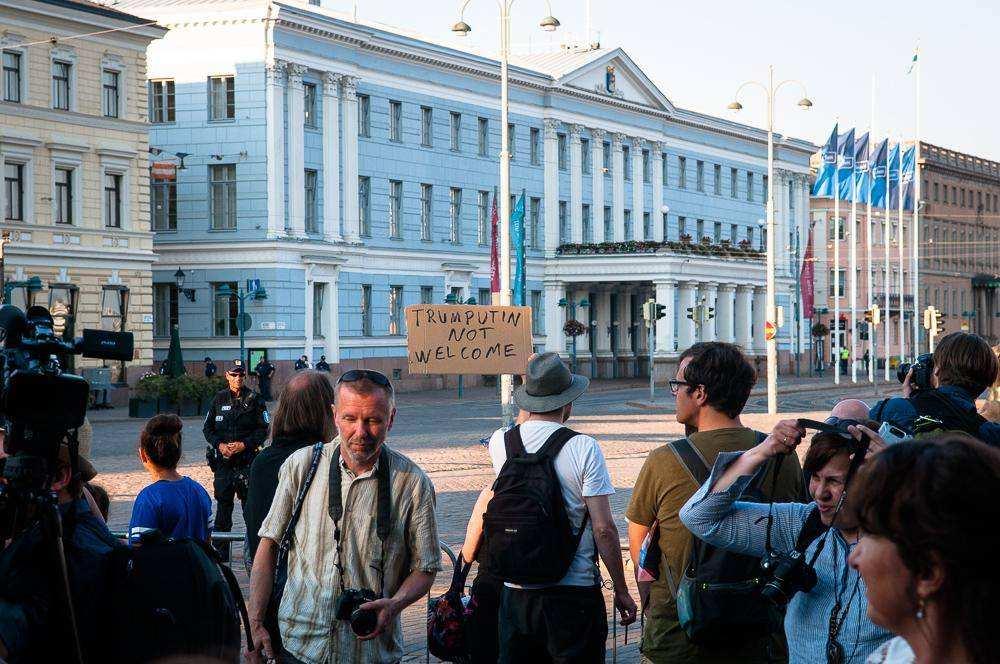 Трам и Путин. Хельсинки - 2018